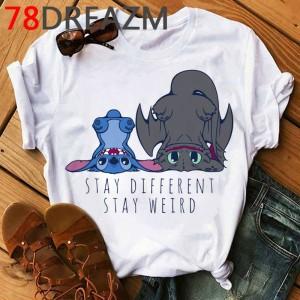 T-shirt filles manches courtes, 100% coton imprimé - Stay weird stitch dragons