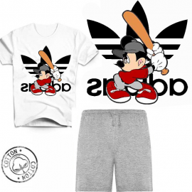 Ensemble garçon - T-shirt blanc + short gris 6-12 ans - Mickey baseball