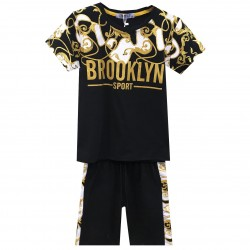 Ensemble tshirt et short imprimé BROOKLYN - Noir