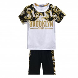 Ensemble tshirt et short imprimé BROOKLYN - Blanc