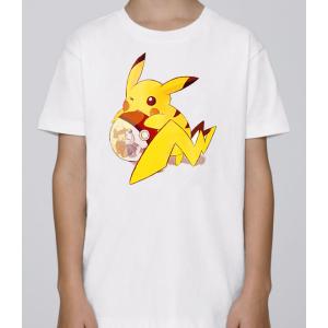T-shirt enfant coupe droite manches courtes, 100% coton imprimé - pkmon pokeball sacha pika