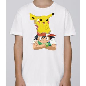 T-shirt enfant coupe droite manches courtes, 100% coton imprimé - pkmon sacha pika