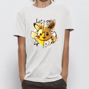 T-shirt enfant coupe droite manches courtes, 100% coton imprimé - let's go pika