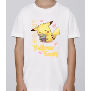 T-shirt enfant coupe droite manches courtes, 100% coton imprimé - pkmon yellow team
