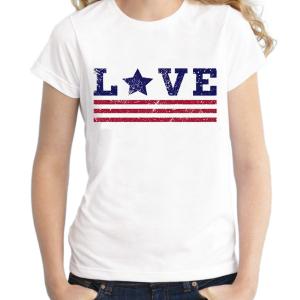 T-shirt filles, 100% coton imprimé - Love façon USA