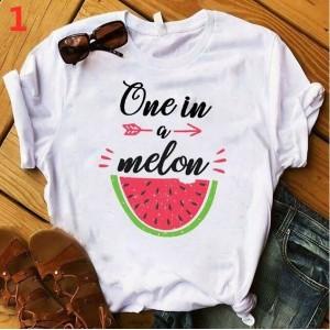 T-shirt filles, 100% coton imprimé - one in a melon