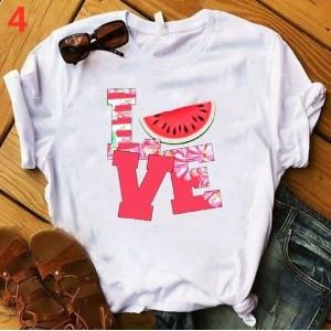 T-shirt filles, 100% coton imprimé - Love tranche pasteque
