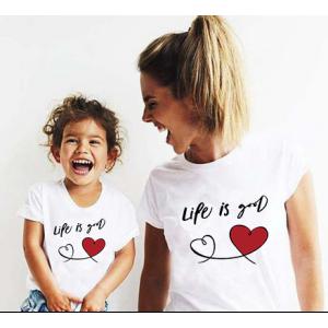 Mere et fille - T-shirt pour femme ou fille, 100% coton imprimé life is good
