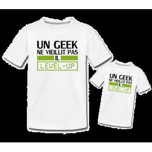 Pere et fils - T-shirt pour homme ou enfant 100% coton imprimé geek level up