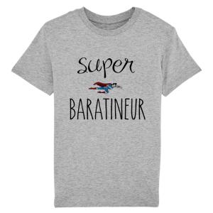 T-shirt enfant coupe droite, 100% coton imprimé Super baratineur