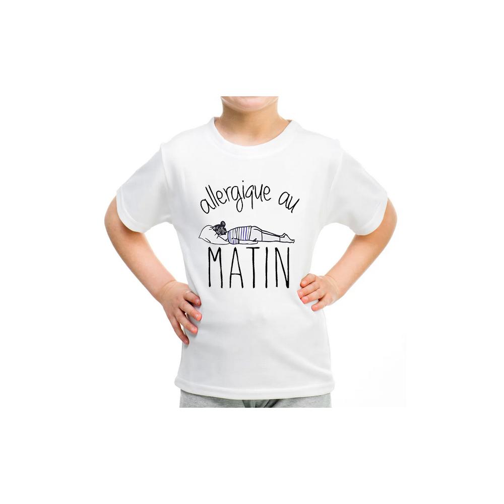 T-shirt filles, 100% coton imprimé - Allergique au Matin