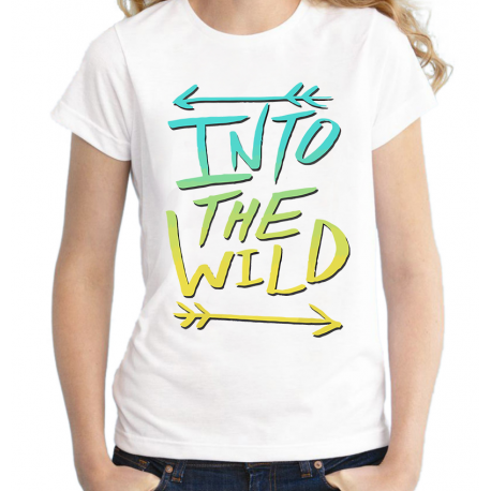 T-shirt filles, 100% coton imprimé - Into the wild color Fleches