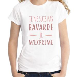 T-shirt filles, 100% coton imprimé - pas bavarde je m'exprime