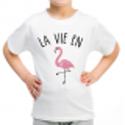 T-shirt filles, 100% coton imprimé - la vie en flament-rose