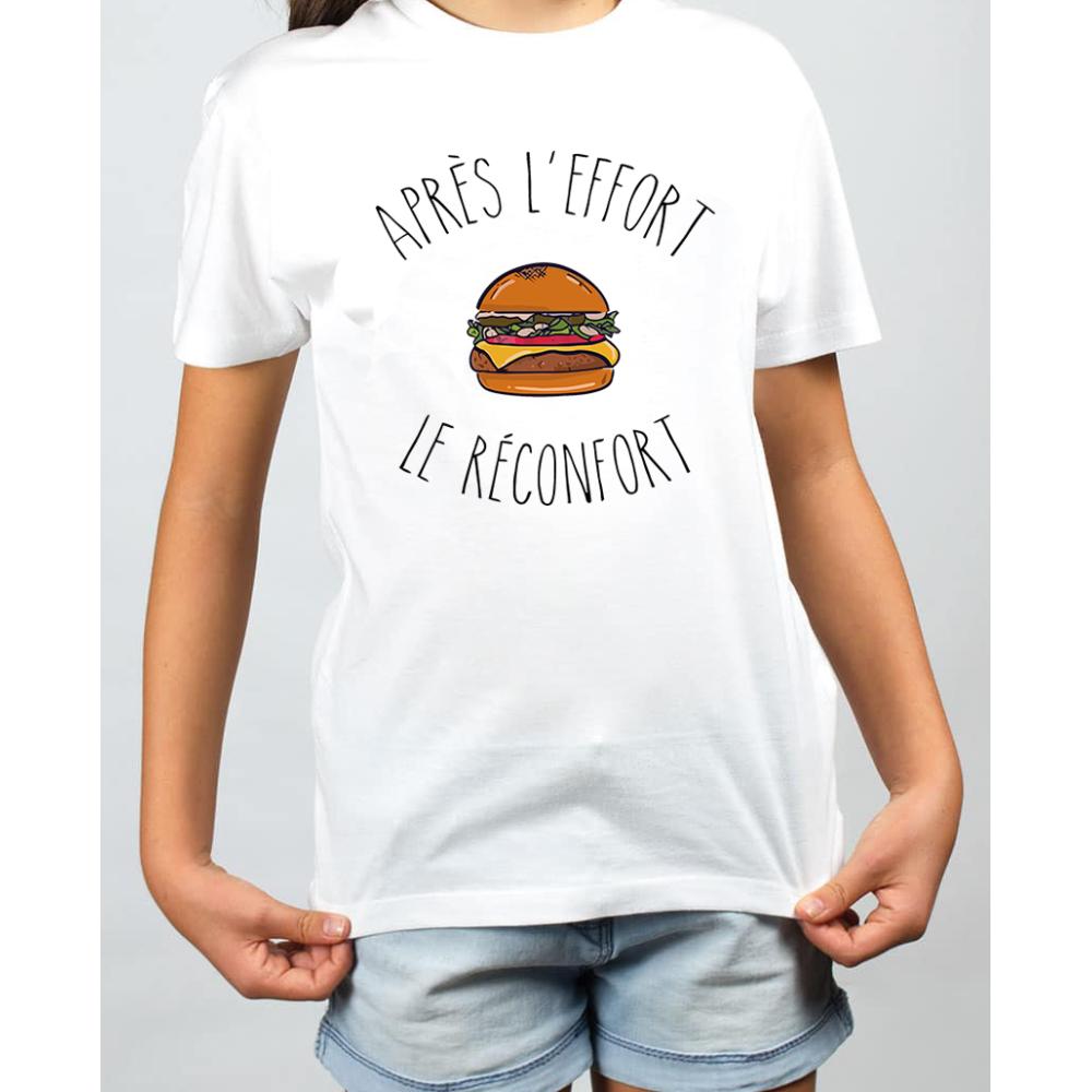 T-shirt filles, 100% coton imprimé - Apres l'effort le burger reconfort