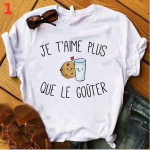 T-shirt filles, 100% coton imprimé - Je t'aime plus que le gouter