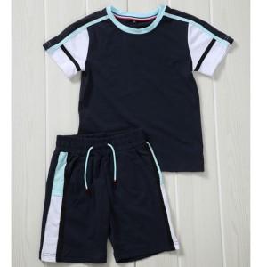 Tshirt + short bande, en coton - Marine-ciel-blanc-noir