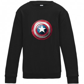 Sweat-shirt 80% coton imprimé bouclier captain america