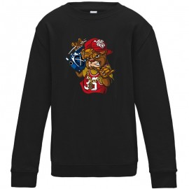 Sweat-shirt 80% coton imprimé Bull dog swagg