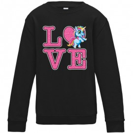 Sweat-shirt 80% coton imprimé Love licorne