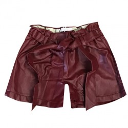 Short fille en simili cuir avec attache - Bordeaux