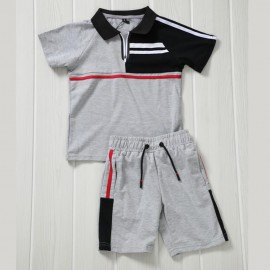 Ensemble sport polo + short - Gris-noir-blanc-rouge -a71