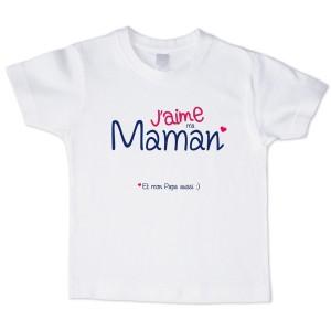 T-shirt garçon blanc manche courte - J aime ma maman ...