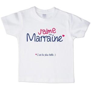 T-shirt garçon blanc manche courte - J aime ma marraine ...
