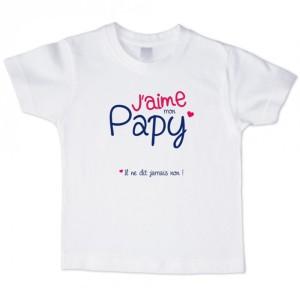 T-shirt garçon blanc manche courte - J aime ma Papy ...