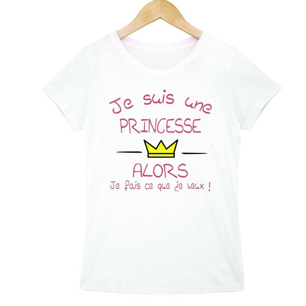 T-shirt blanc fille - Je suis une princesse ...