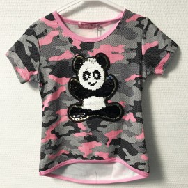 Fin de serie - Tshirt fille a sequin panda - bordure rose