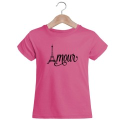 T-shirt blanc fille - Amour