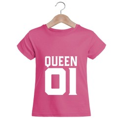 T-shirt blanc fille - QUEEN 01