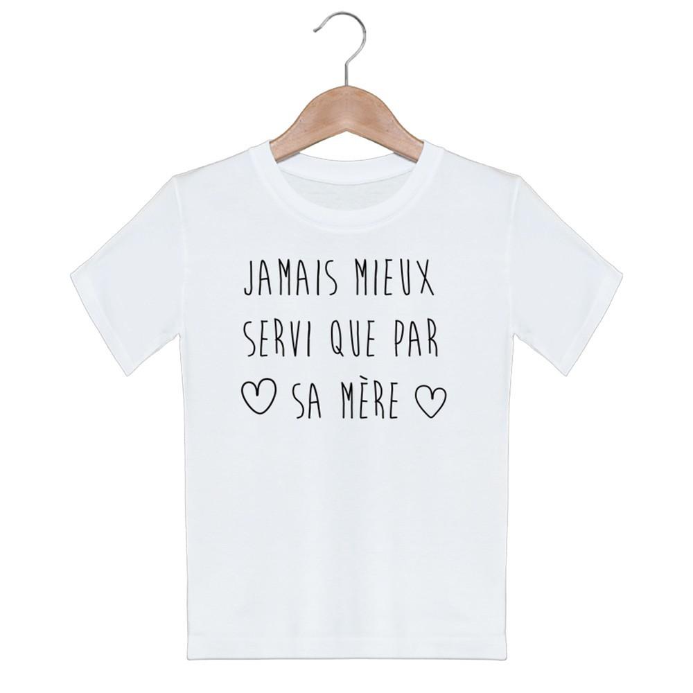 T-shirt garçon blanc manche courte - Jamais servi que par sa mere