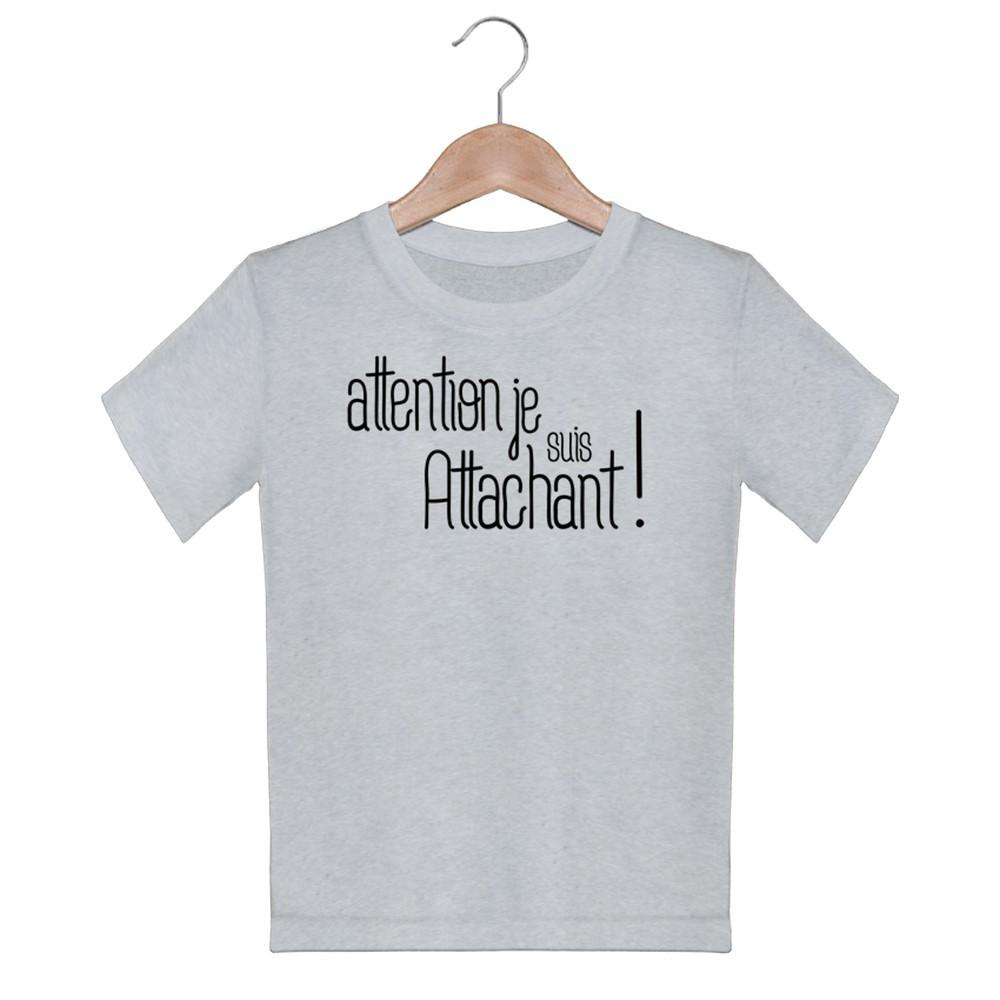 T-shirt garçon manche courte - Attention , je suis attachant