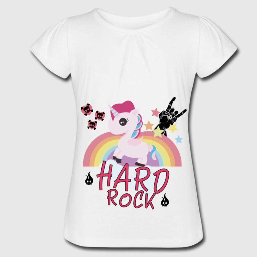 T-shirt blanc fille - licorne hard rock
