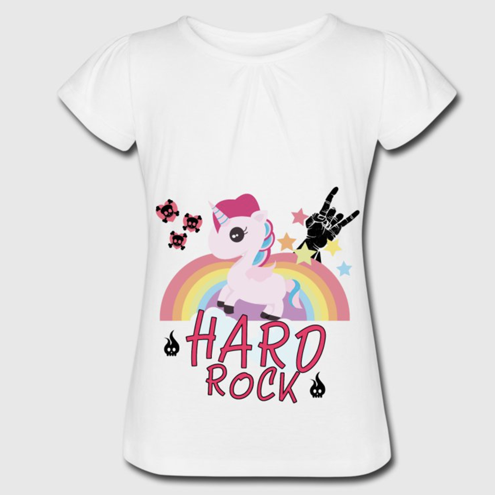 t shirt blanc fille licorne hard rock. Black Bedroom Furniture Sets. Home Design Ideas