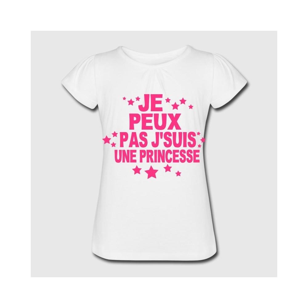 T-shirt blanc fille - Je peux pas, je suis une princesse