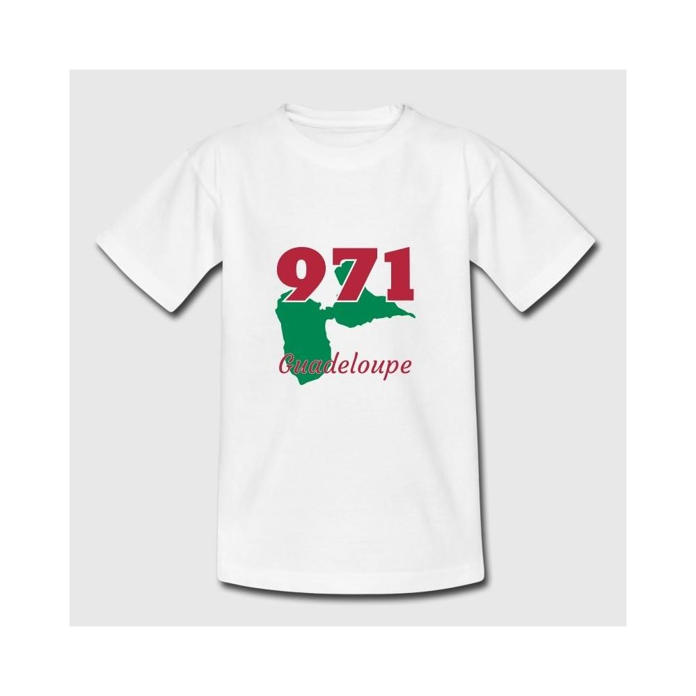 T-shirt blanc enfant - Guadeloupe 971