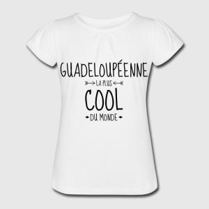 T-shirt blanc fille - Guadeloupenne la plus cool du monde
