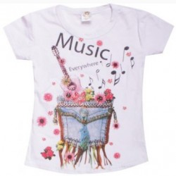 T-shirt fashion pour fille manches courtes - Music Everywhere