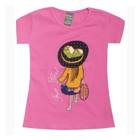 T-shirt tendance pour fille - Manches courtes col Rond - Free Girl
