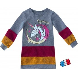Sweat tunique bi-matiere peluche et molleton 4-14 ans - gris/bordeaux/moutarde