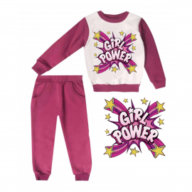 Jogging enfant sweat + pantalon 1-4 ans Floqué girl power