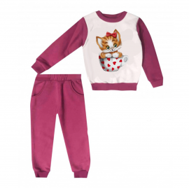 Jogging enfant sweat + pantalon 1-4 ans Floqué CHATON