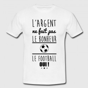 T-shirt blanc enfant - L'argent ne fait pas le bonheur, le football oui