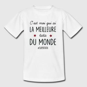 T-shirt blanc enfant - C'est moi qui ai la meilleur tâta du monde