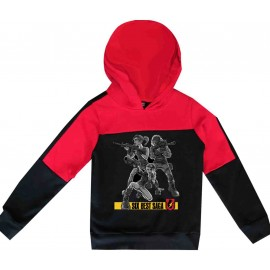 Sweatshirt enfant bi-color a capuche - noir/rouge