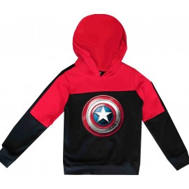 Sweatshirt enfant bi-color a capuche - noir/rouge - captan