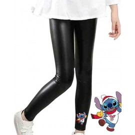 Legging enfant en matiere simili - 4-14 ans - stich